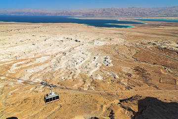 View of the Dead Sea from the funicular of fortress Masada