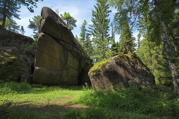 Rocks in the forest, Krasnoyarskie Stolby, Russia