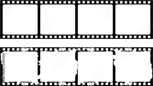 Isolated new and aged filmstrip frame - vector