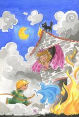 Pompiere che salva donna da casa in fiamme