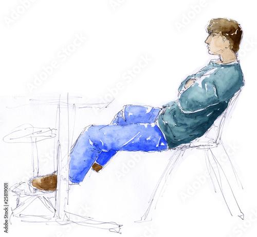 Disegno di uomo seduto alla scrivania con mani conserte