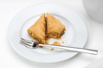 Baklava on white plate