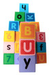 buy in toy play block letters with clipping path