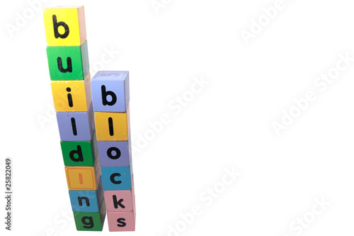 building blocks in letters against white