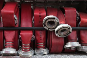 fire hoses in firetruck