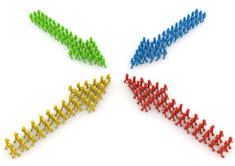 Meeting of four coloured characters arrow formations