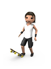 Young White 3D Male Standing on Skateboard