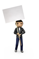 Oriental Asian 3D Guy Holding Blank Placard