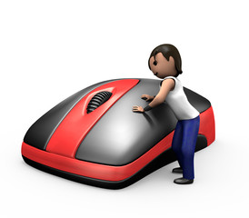 3d Young Man Clicking PC Mouse