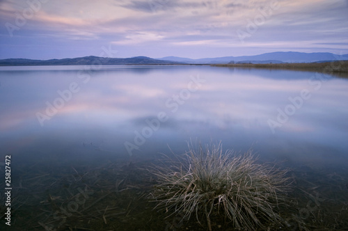 lake at evening after sunset with long exposure