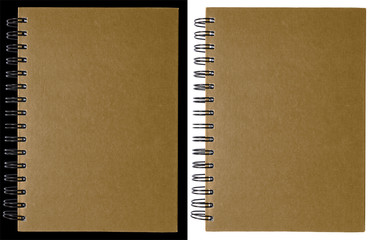 Dark brown notebook isolated on black and white