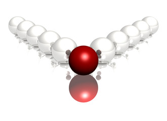 red and white glossy spheres on white background