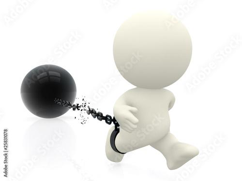 3D Prisoner breaking chains