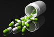 green capsules black background