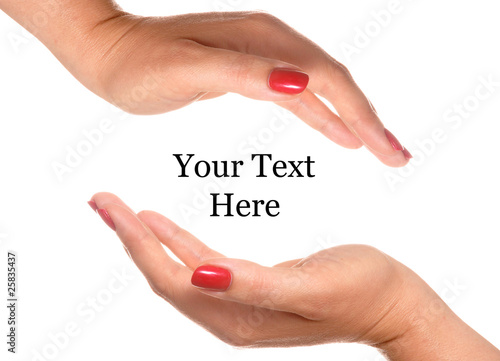 Open hand for your text