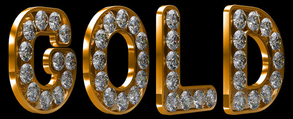 Gold word incrusted with diamonds