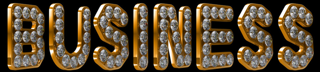 Business word incrusted with diamonds