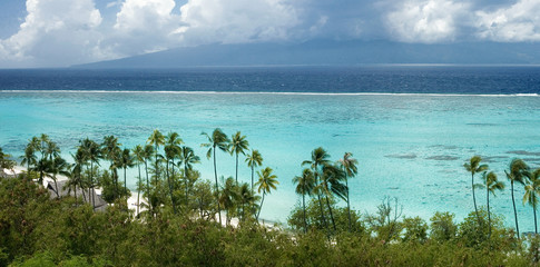 beach and lagoon in French Polynesia