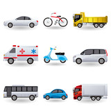 Realistic Transportation Icon Set
