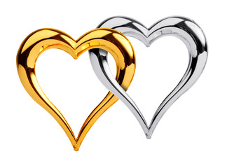 Golden and silver heart isolated on white background