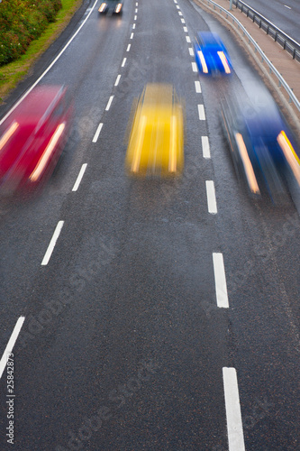 Motion on highway with color blurred cars