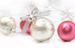 Christmas ball baubles with silver decoration,