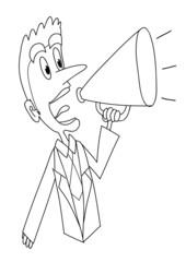 Strillone: uomo col megafono che urla. Bn