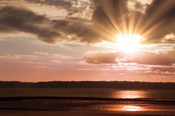 Sunset on Saint Helier beach - Jersey island