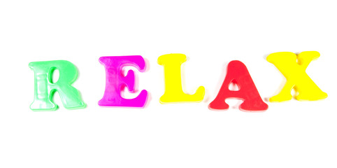 relax written in fridge magnets