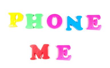 phone me written in fridge magnets