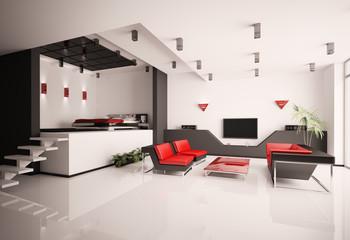 Schlafzimmer und wohnzimmer 3d