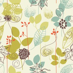 Seamless background on leaves theme