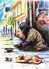 Beggar with dog.