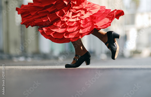 Flamenco Dancer red dress dancing shoes - 25853825