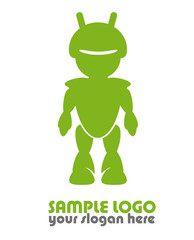 Android robot logo sample template green