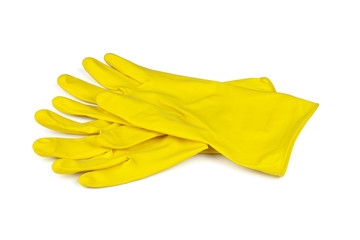 yellow rubber gloves isolated