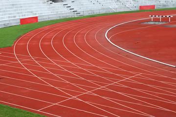 Curve of Race Track in Big Football Stadium