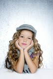 winter cap wool scarf little fashion girl portrait