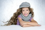 winter cap wool scarf litle fashion girl wind on hair