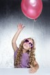 fashion little party girl red balloon heart sunglasses