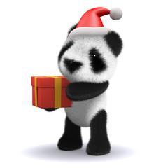 3d Panda and Christmas Present