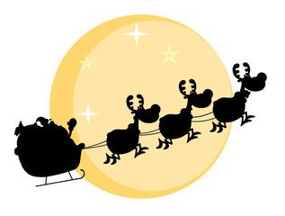 Black Silhouette Of Santa And A Reindeers Flying In Moon