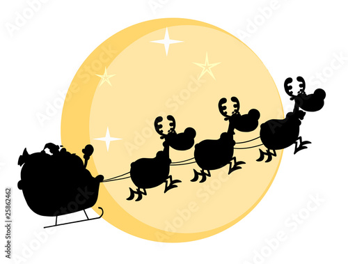 Black Silhouette Of Santa And A Reindeers Flying In Moon