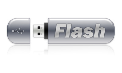 "USB flash memory drive with ""Flash"" wording"
