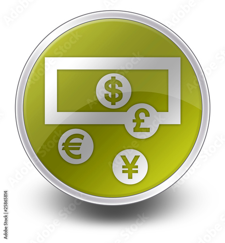 "Yellow Glossy Icon ""Currency Exchange"""