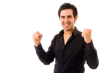 happy young man with arms raised, isolated on white