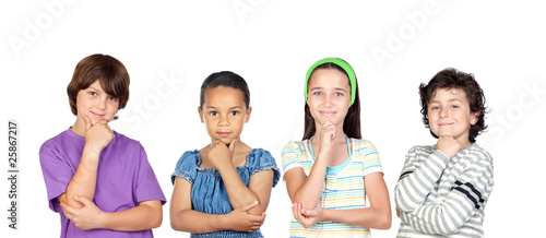 Four pensive children