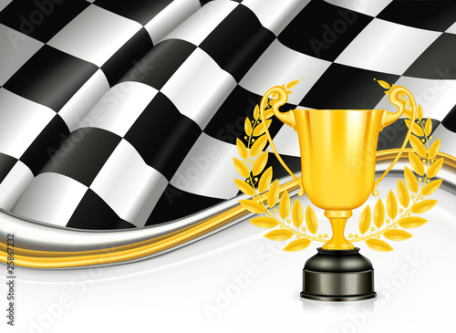 Checkered Background with a Trophy