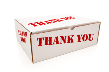 White Box with Thank You on Sides Isolated