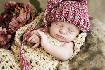 Baby Wearing Hat Vintage Look